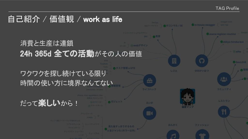 自己紹介 / 価値観 / work as life TAG Profile   消費と生産は連...