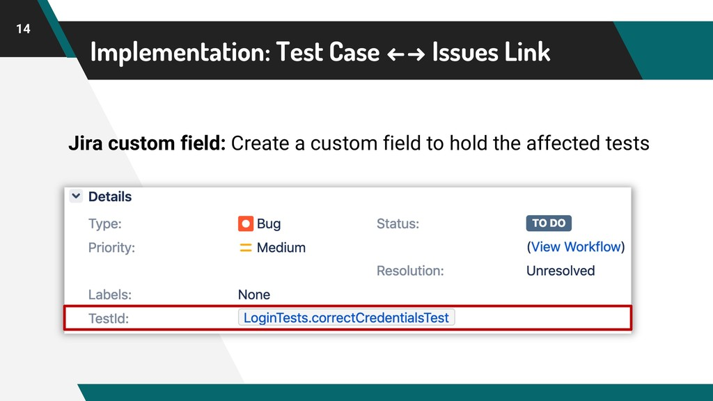 Implementation: Test Case ←→ Issues Link 14 Jir...