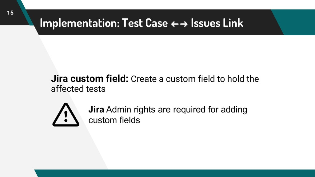 Implementation: Test Case ←→ Issues Link 15 Jir...