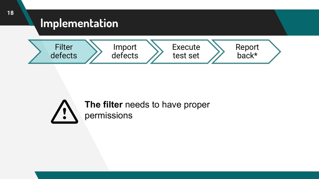 Implementation 18 Filter defects Import defects...