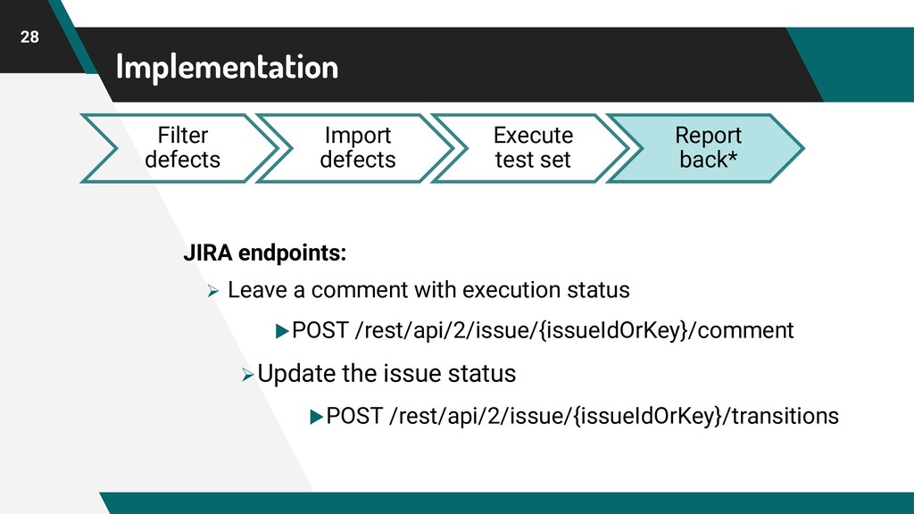 Implementation 28 Filter defects Import defects...