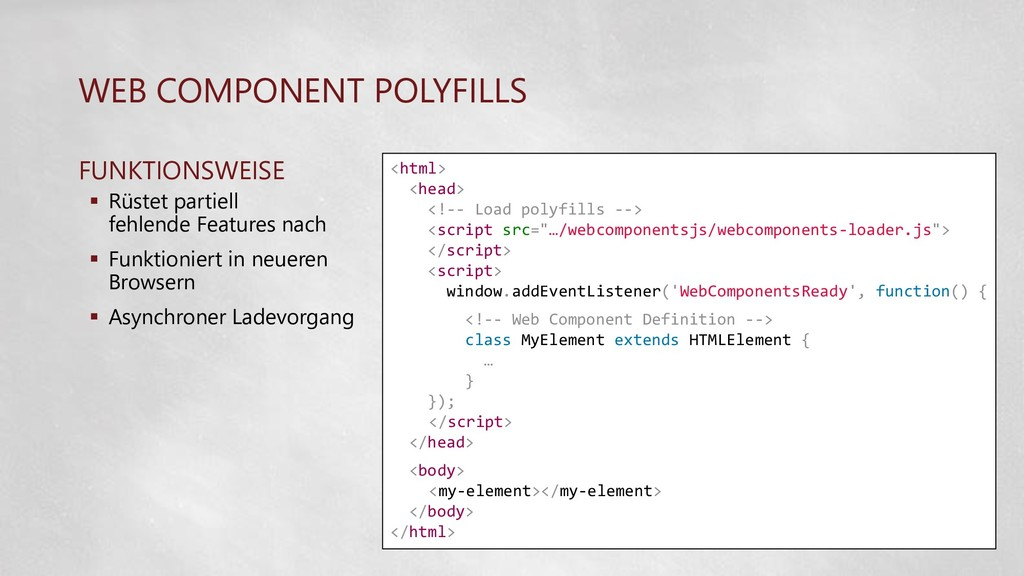 WEB COMPONENT POLYFILLS FUNKTIONSWEISE  Rüstet...