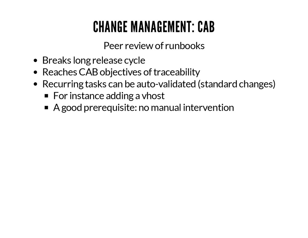 CHANGE MANAGEMENT: CAB Peer review of runbooks ...