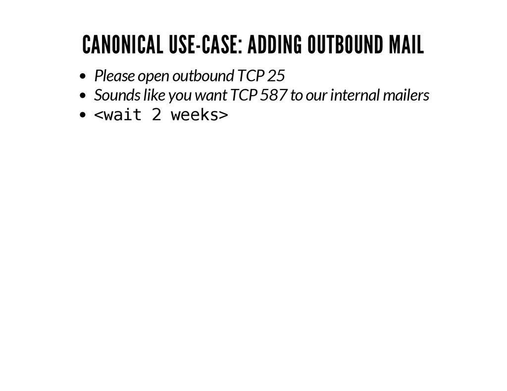 CANONICAL USE-CASE: ADDING OUTBOUND MAIL Please...