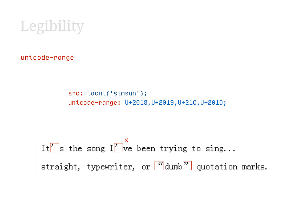Legibility unicode-range src: local('sim...