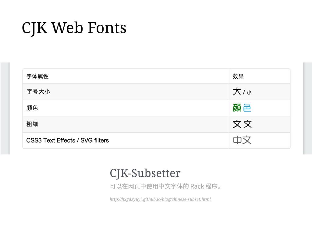 CJK Web Fonts CJK-Subsetter http://hxgdzyuyi.gi...