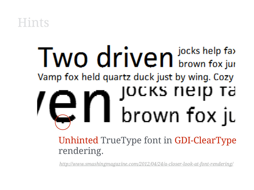 Hints Unhinted TrueType font in GDI-ClearType r...