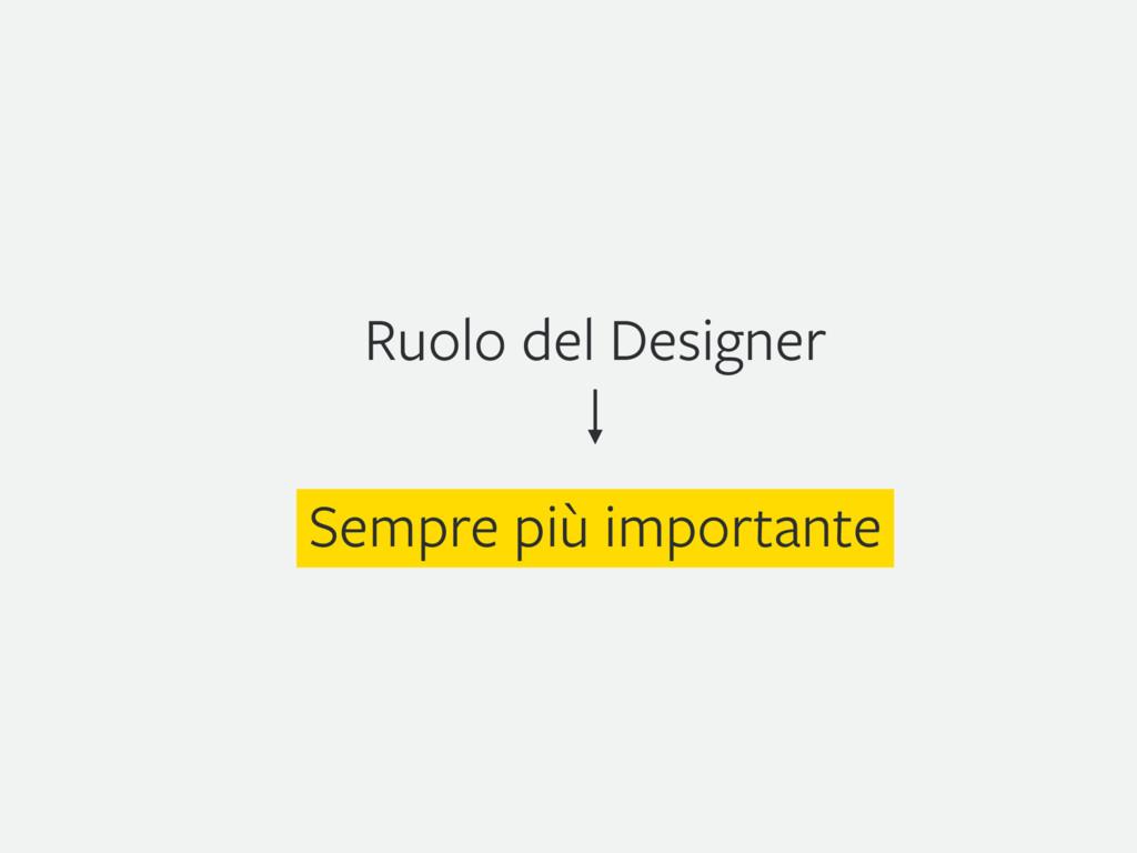 Ruolo del Designer Sempre più importante