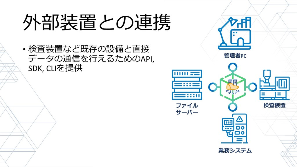 外部装置との連携 • 検査装置など既存の設備と直接 データの通信を行えるためのAPI, SDK...