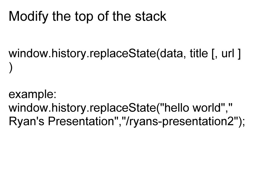 Modify the top of the stack window.history.repl...