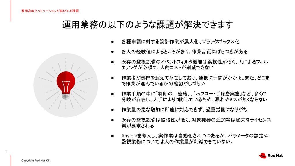 Copyright Red Hat K.K. 運用業務の以下のような課題が解決できます 5 ●...