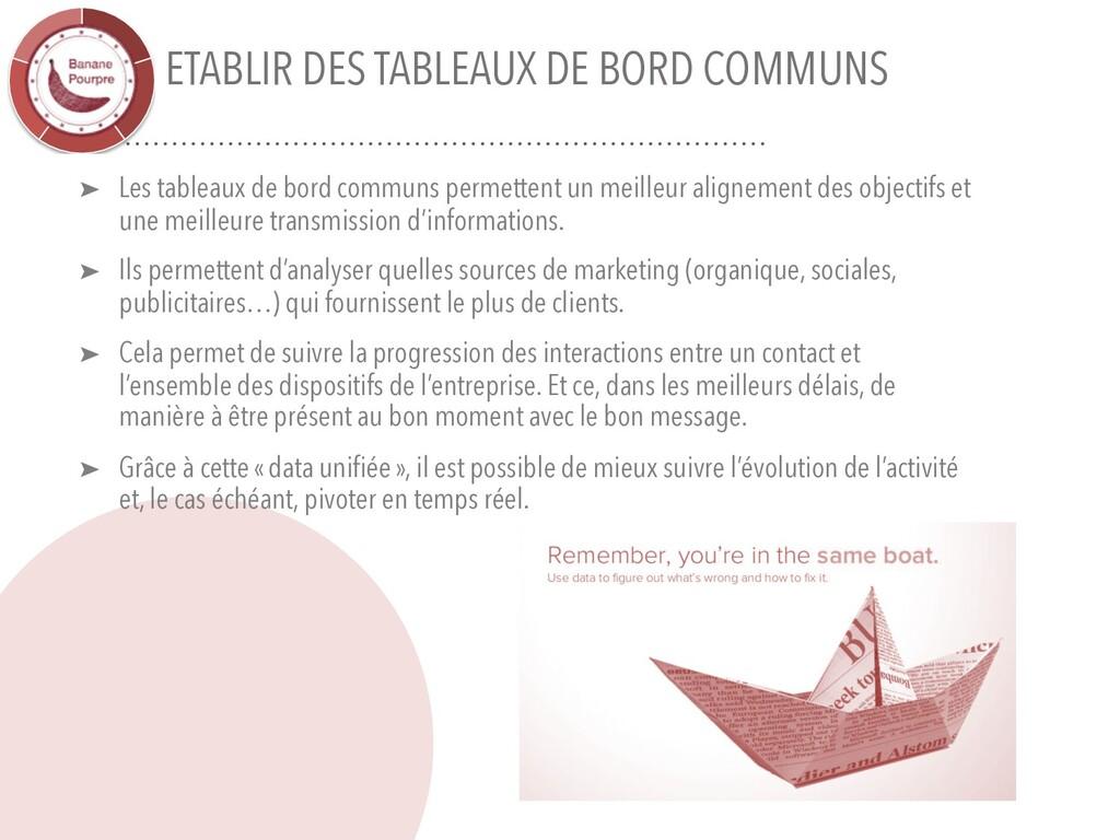 ETABLIR DES TABLEAUX DE BORD COMMUNS ➤ Les tabl...