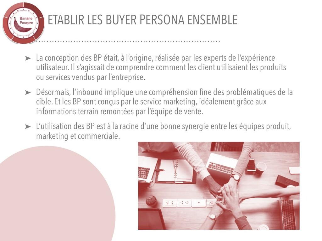 ETABLIR LES BUYER PERSONA ENSEMBLE ➤ La concept...