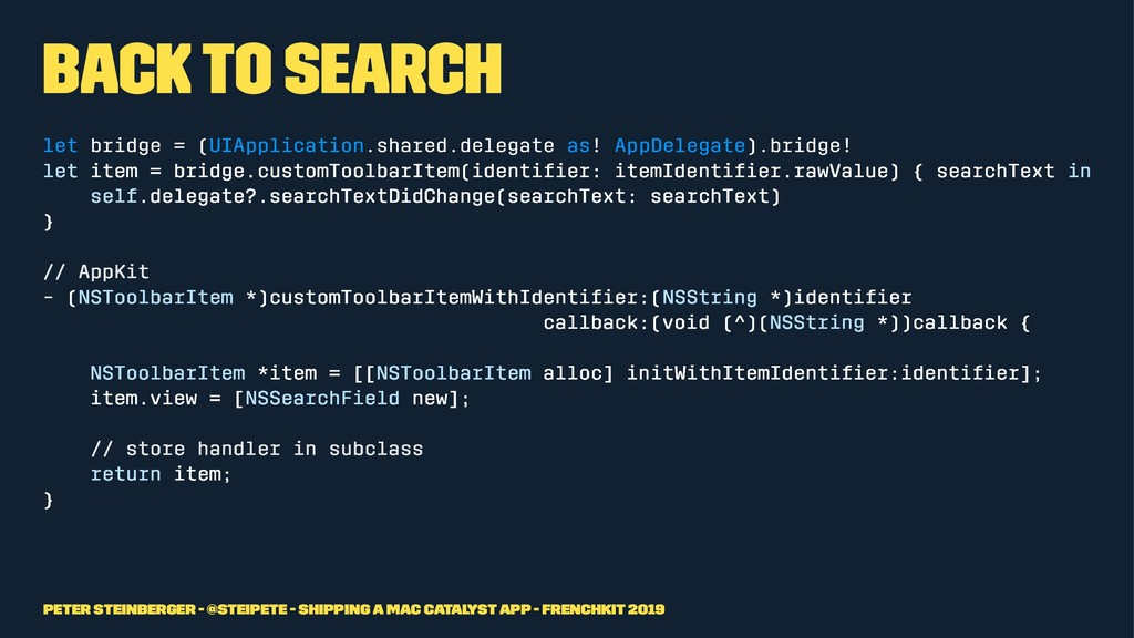 Back to Search let bridge = (UIApplication.shar...