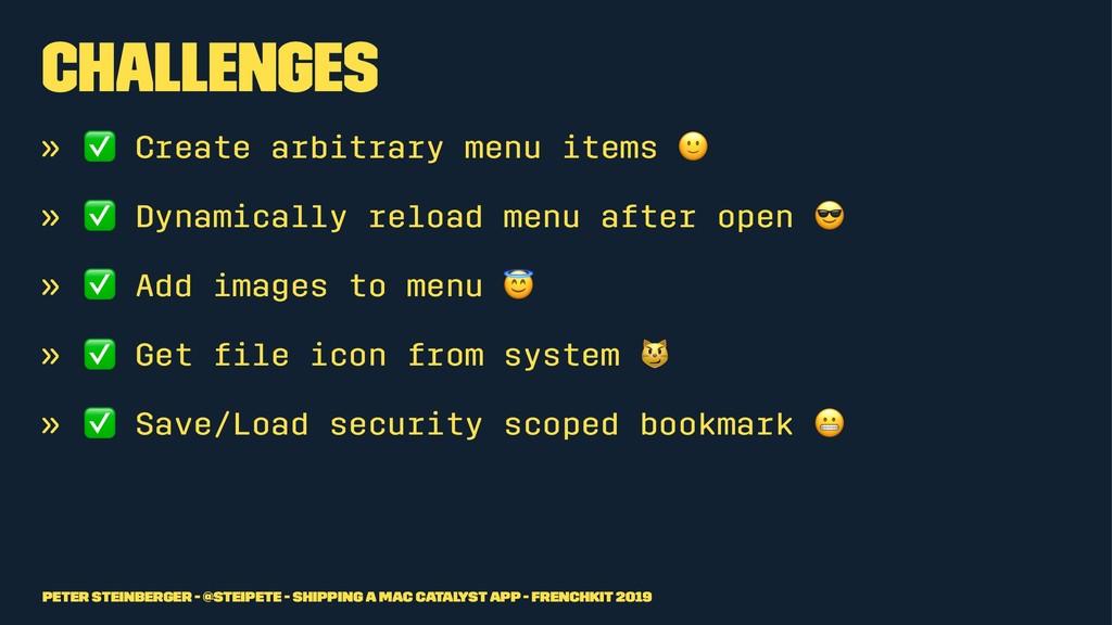 Challenges » ✅ Create arbitrary menu items » ✅ ...