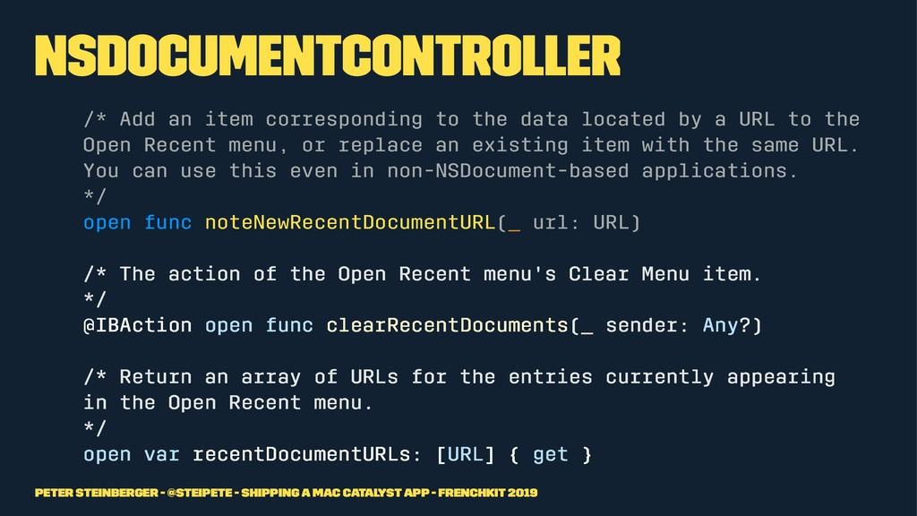 NSDocumentController /* Add an item correspondi...