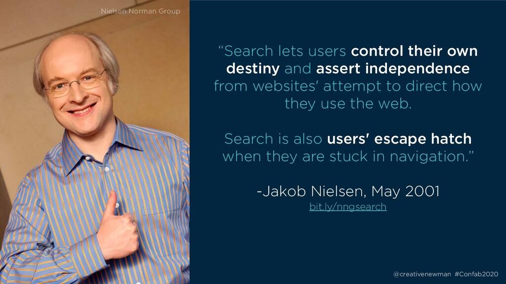"@creativenewman #Confab2020 ""Search lets users ..."