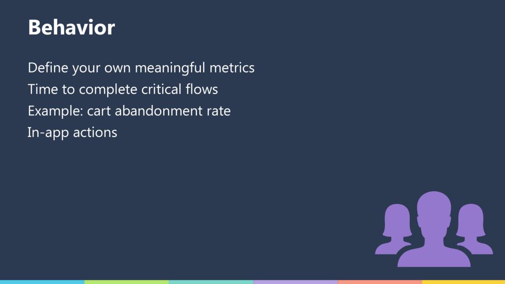 Behavior Define your own meaningful metrics Tim...