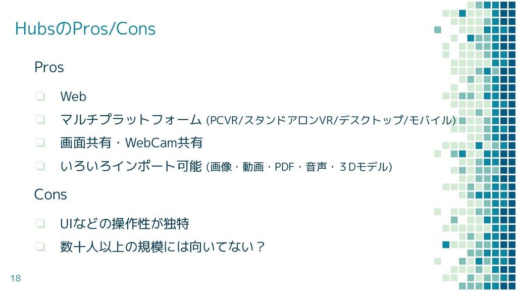 Pros ❏ Web ❏ マルチプラットフォーム (PCVR/スタンドアロンVR/デスクトップ...