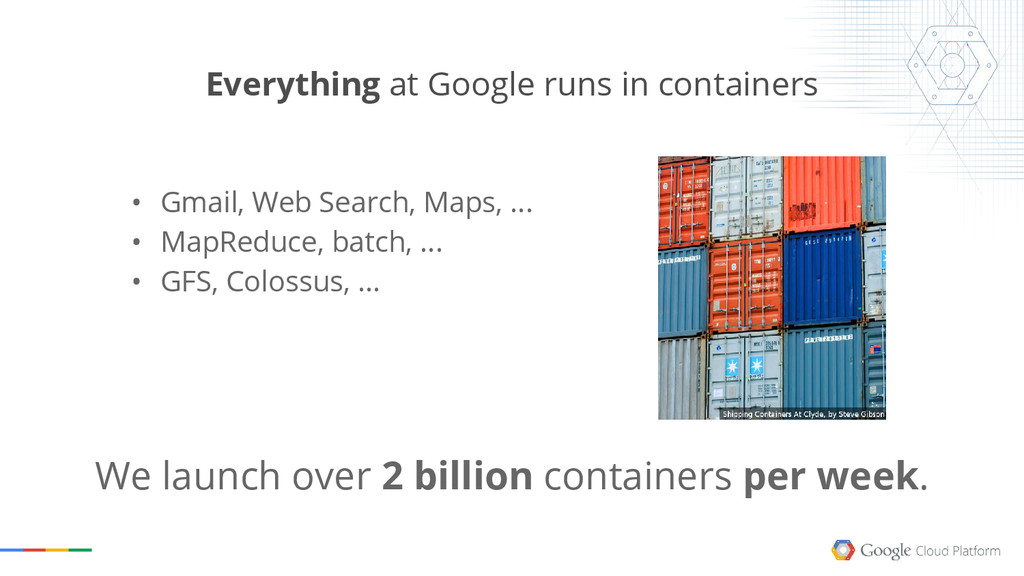 Everything at Google runs in containers We laun...