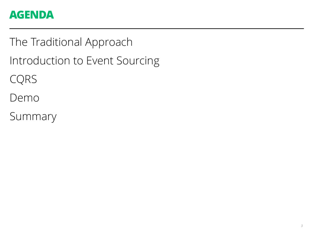 AGENDA The Traditional Approach Introduction to...