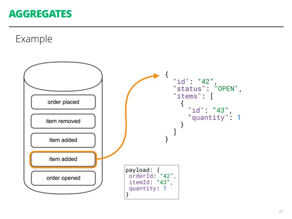 "AGGREGATES Example 24 { ""id"": ""42"", ""status"": ""..."