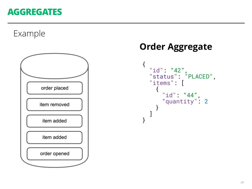 "AGGREGATES Example 28 { ""id"": ""42"", ""status"": ""..."