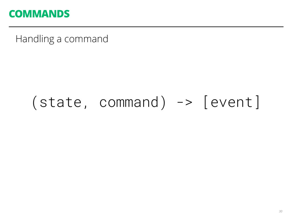 COMMANDS 30 (state, command) -> [event] Handlin...