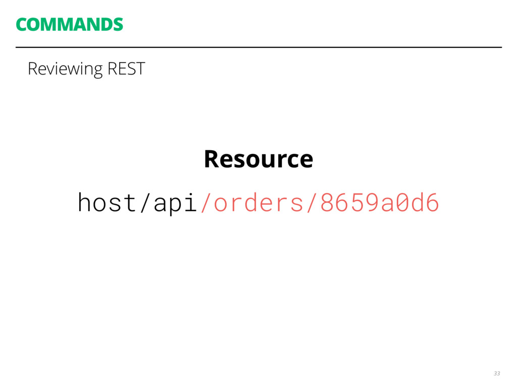 COMMANDS 33 Reviewing REST Resource host/api/or...