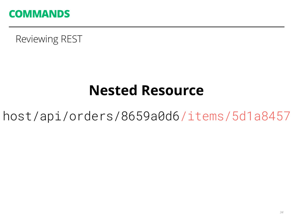 COMMANDS 34 Reviewing REST Nested Resource host...