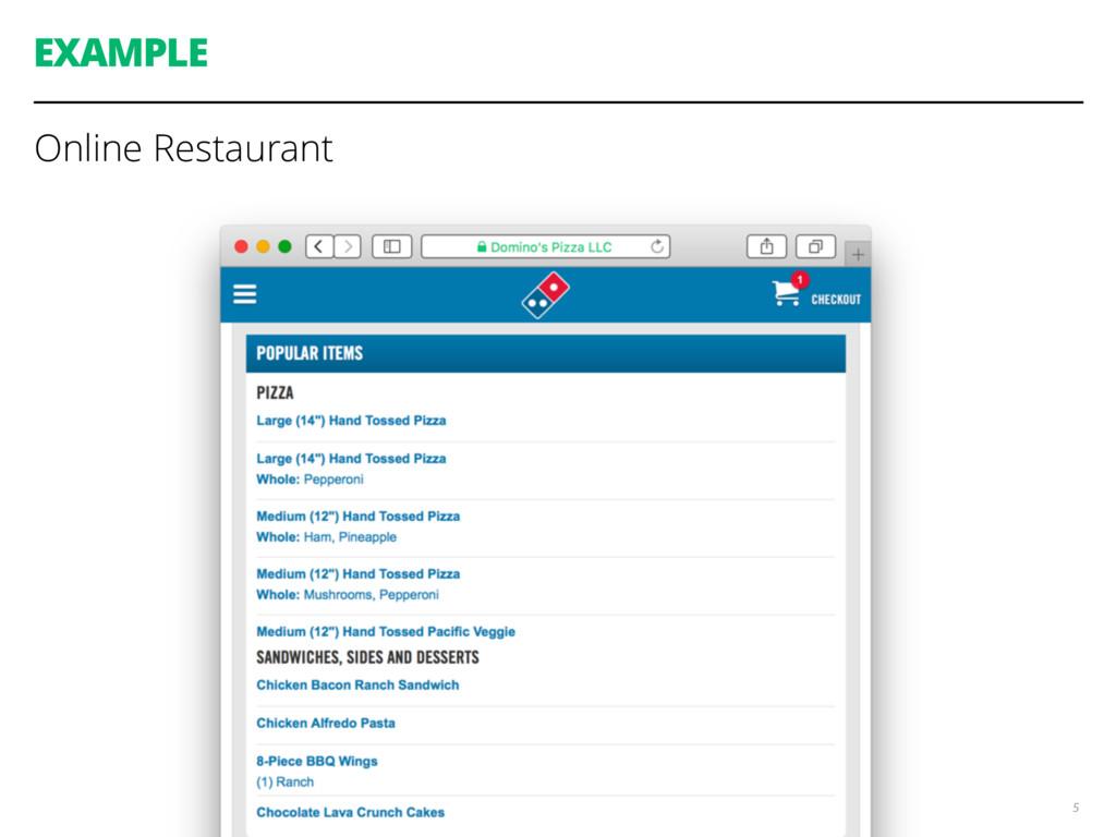 EXAMPLE Online Restaurant 5