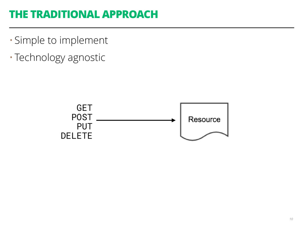 THE TRADITIONAL APPROACH • Simple to implement ...