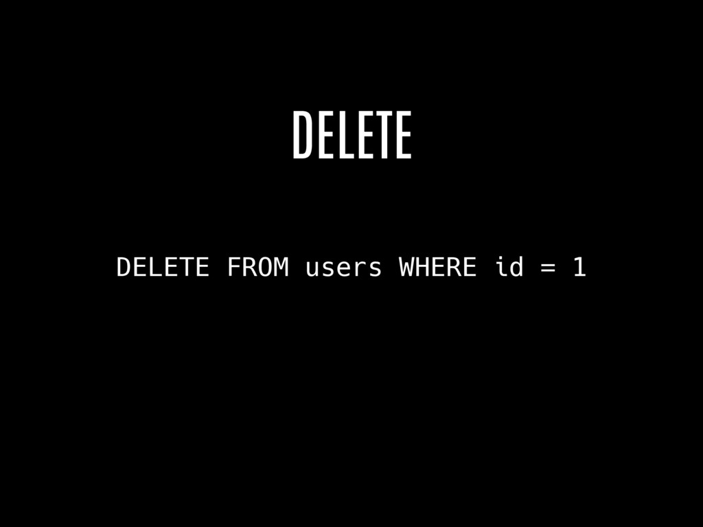 DELETE FROM users WHERE id = 1 DELETE