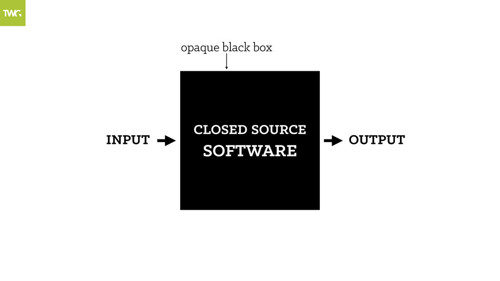 OUTPUT CLOSED SOURCE SOFTWARE INPUT opaque blac...