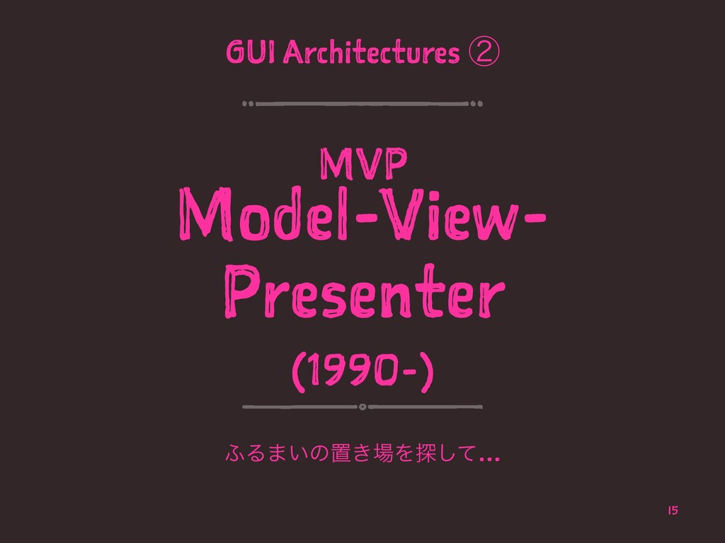 GUI Architectures ᶄ MVP Model-View- Presenter (...
