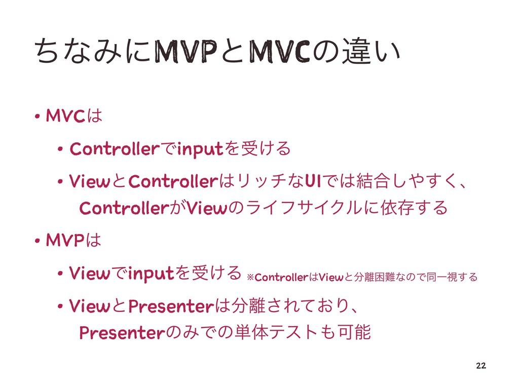 ͪͳΈʹMVPͱMVCͷҧ͍ • MVC • ControllerͰinputΛड͚Δ • ...