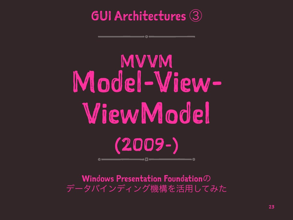 GUI Architectures ᶅ MVVM Model-View- ViewModel ...