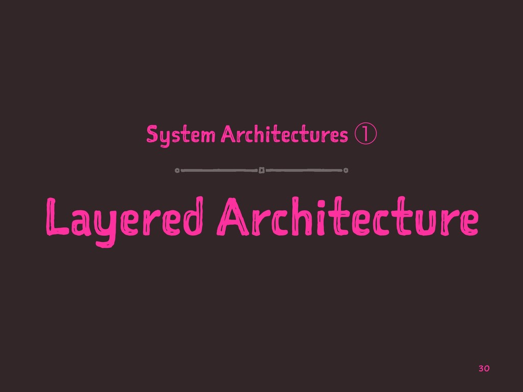 System Architectures ᶃ Layered Architecture 30