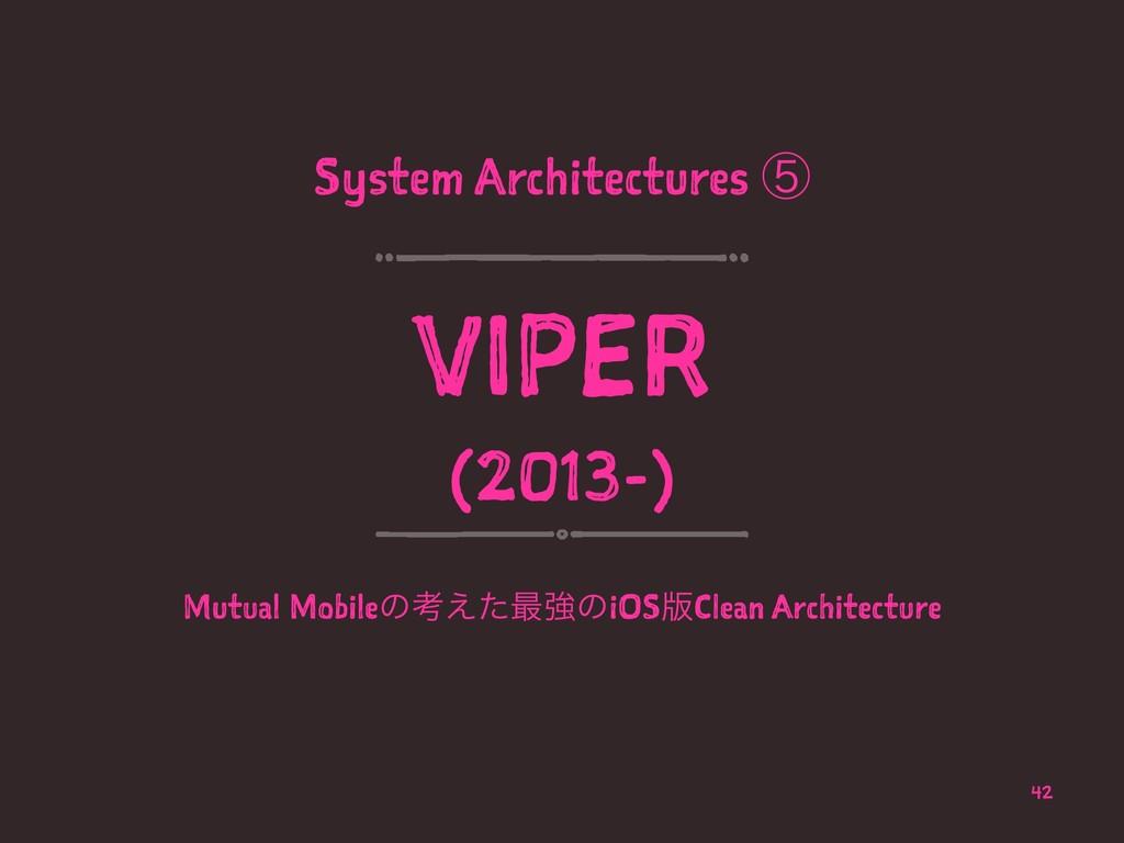 System Architectures ᶇ VIPER (2013-) Mutual Mob...