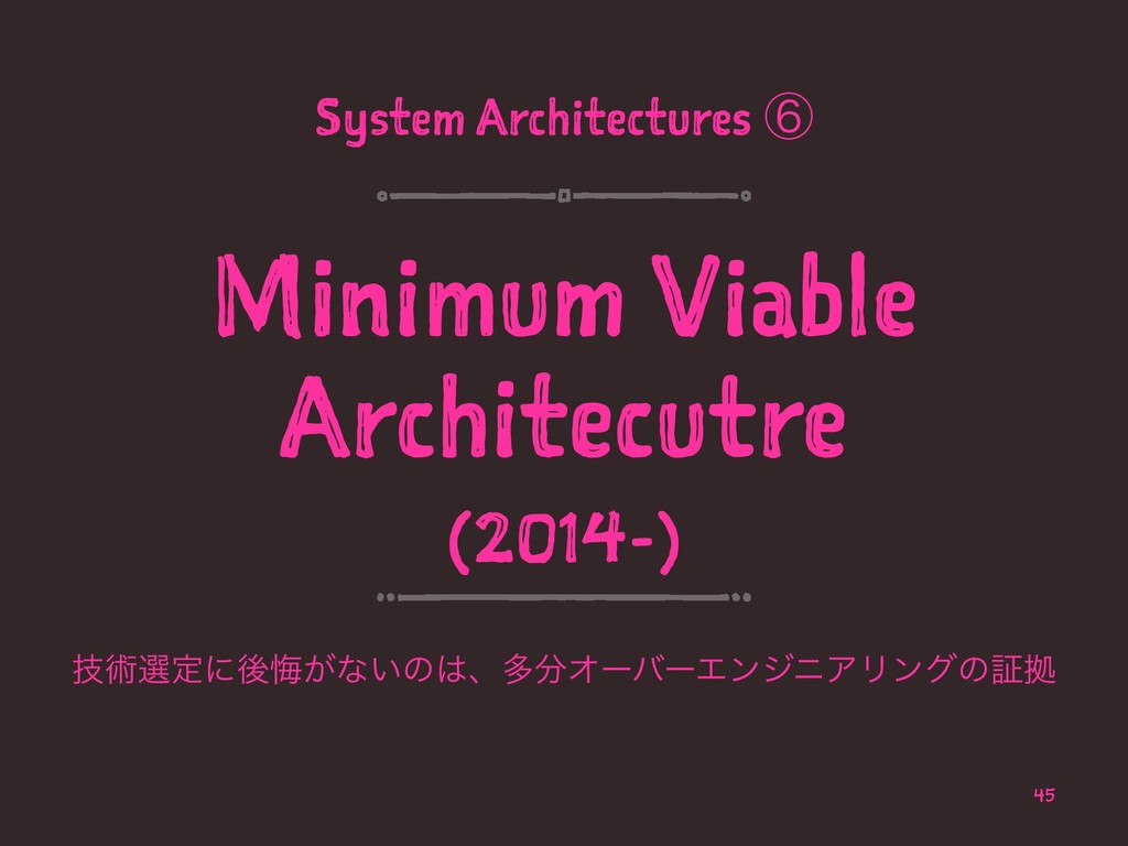 System Architectures ᶈ Minimum Viable Architecu...