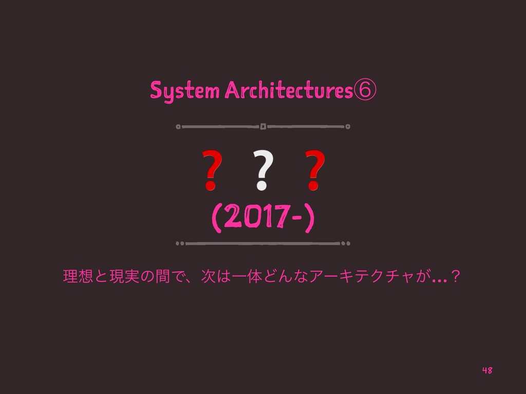 System Architecturesᶈ ❓❔❓ (2017-) ཧͱݱ࣮ͷؒͰɺҰମ...