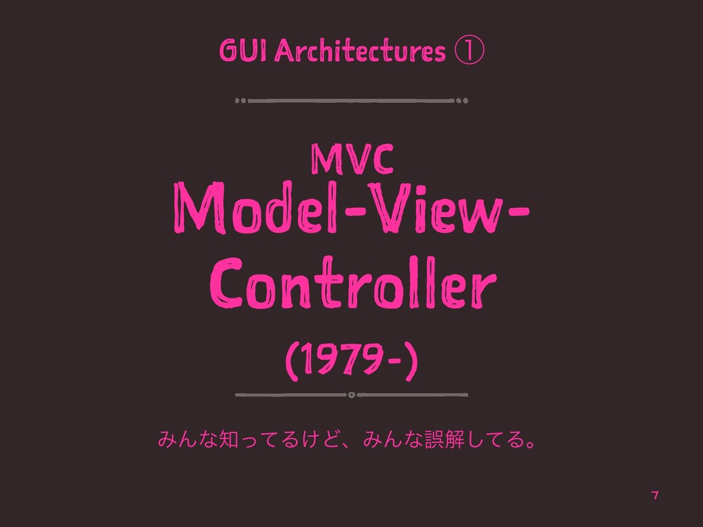 GUI Architectures ᶃ MVC Model-View- Controller ...