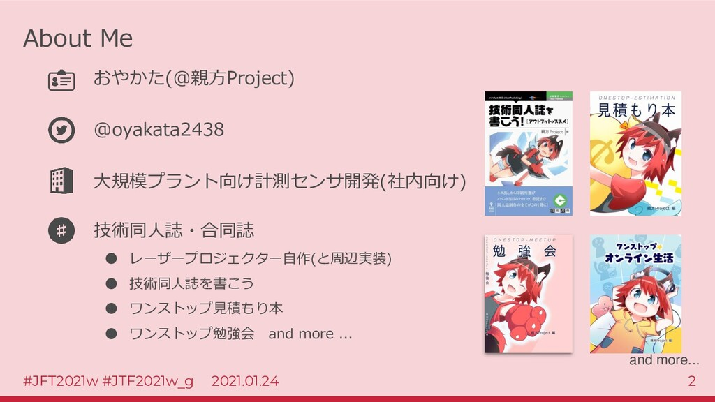 #JFT2021w #JTF2021w‗g 2021.01.24 2 About Me おやか...