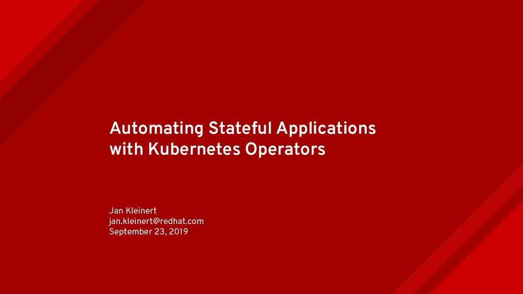 Automating Stateful Applications with Kubernete...