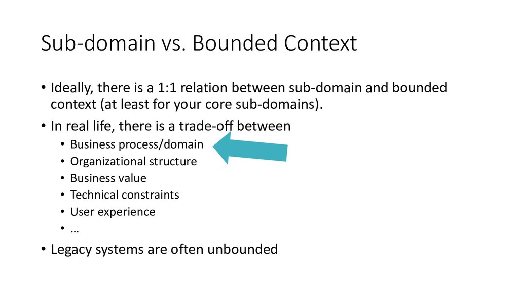 Sub-domain vs. Bounded Context • Ideally, there...