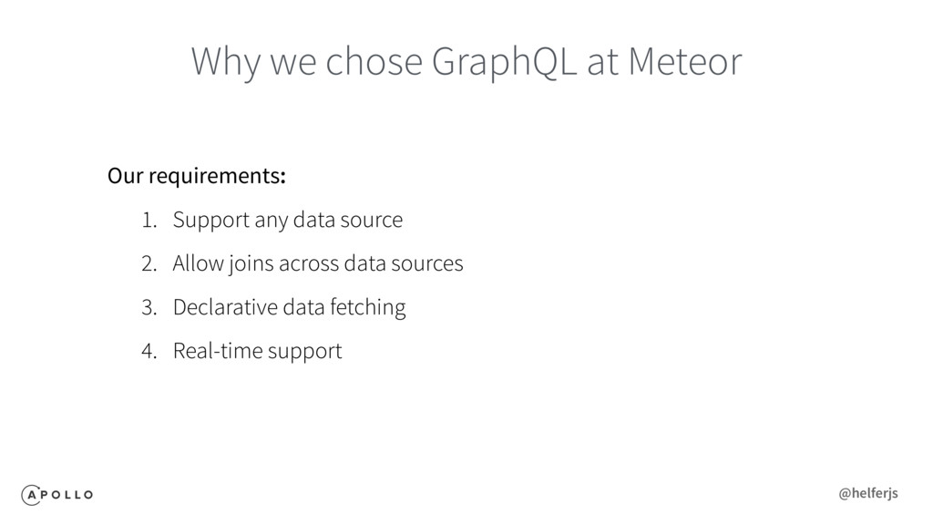 Why we chose GraphQL at Meteor Our requirements...