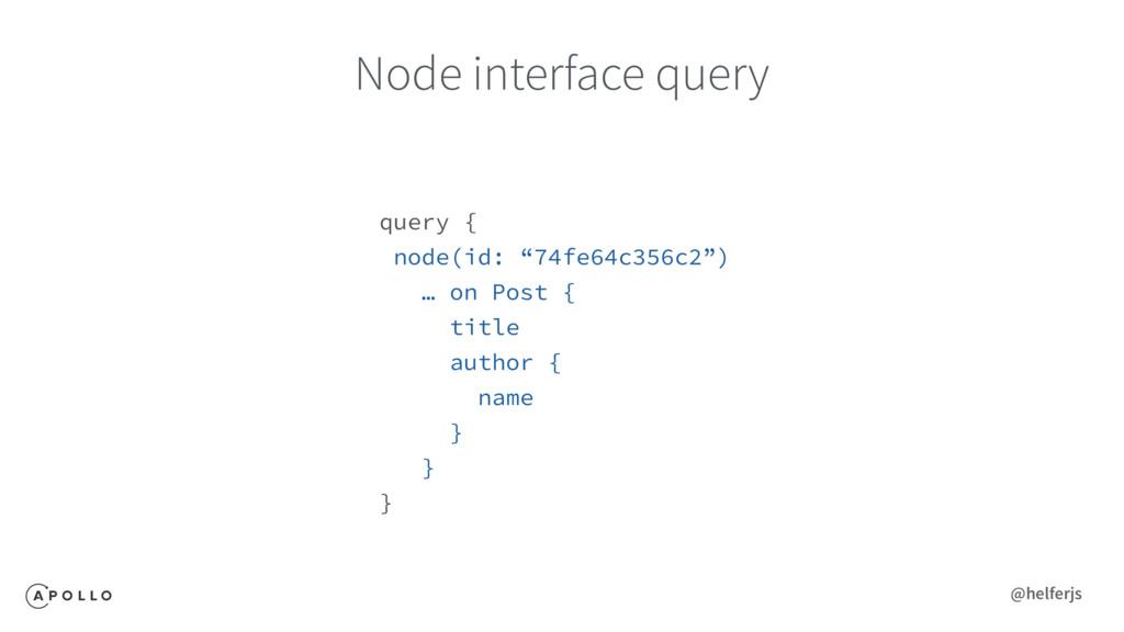 """Node interface query query { node(id: """"74fe64c3..."""