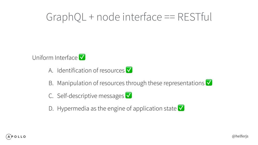 GraphQL + node interface == RESTful Uniform Int...