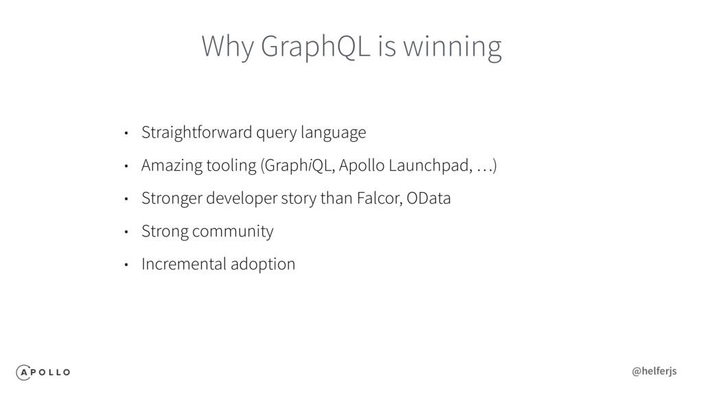 Why GraphQL is winning • Straightforward query ...