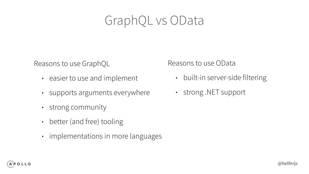 GraphQL vs OData Reasons to use GraphQL • easie...